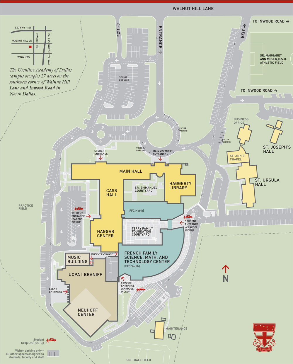 Map of Ursuline Academy of Dallas.