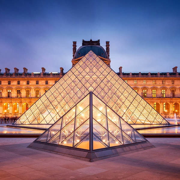 Glass pyramid in France.